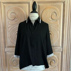 Forever 21 Black Sheer Button-up Blouse. Size L